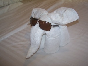 Towel elephant takes charge!