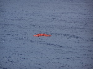 Not a life raft -- just a floating containment buoy!