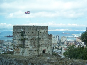 """Moorish Castle looking out over Gibraltar from the """"rock."""""""