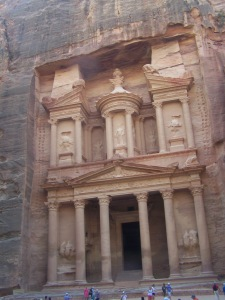 The Treasury was carved into the solid stone mountain at Petra thousands of years ago!