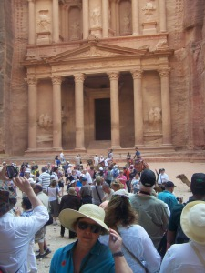 The crowds of people, camels and vendors swarmed in front of The Treasury -- favorite site in Petra!