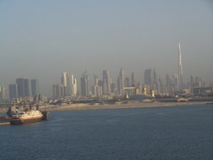 Dubai -- viewed from The Mariner of the Seas. Look for the world's tallest tower, Burj Kalifa.