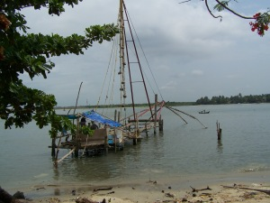 Chinese fishing boats on seashore in Cochin, India