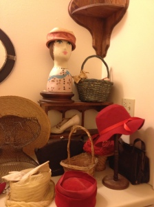 Vintage hats - hidden away in the lady's room