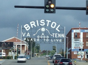 The Tennessee/Virginia state line runs along State Street in Bristol.