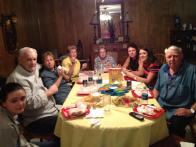 Some of our Texas family enjoying homemade WV subs (imitating the Pinnacle Drive-In subs) on our West Virginia Subs Day!