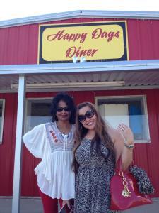 Shalni and Arceli are happy at Happy Days Diner in Shepherd, Texas.